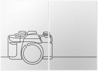 Diptychon Dauerstrichzeichnung von Retro-Foto-Kamera