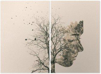 Diptychon Doppelbelichtung Porträt der jungen Frau und Herbstbäume.
