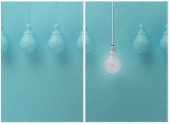 Diptychon Hängende Glühbirnen mit einer unterschiedlichen Idee auf hellblauem Hintergrund, Minimal Konzept Idee, flach lag glühend, top