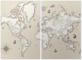 Diptychon Hohe detaillierte, Weltkarte mit dekorativen Elementen