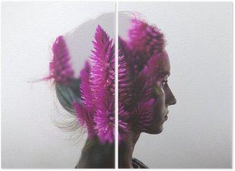 Diptychon Kreative Doppelbelichtung mit Porträt der jungen Mädchen und Blumen