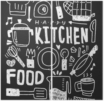 Diptychon Küchenelemente Doodles Hand gezeichnet Linie Symbol, eps10
