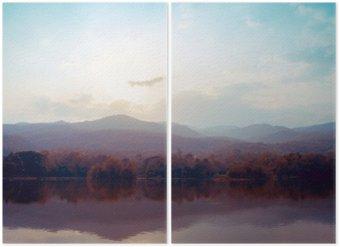 Diptychon Landschaft von See Berge im Herbst - Vintage-Stile.