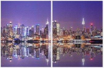 Diptychon Manhattan Skyline mit Reflexionen
