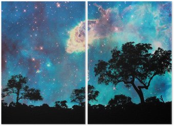 Diptychon Nachtlandschaft mit Silhouette von Bäumen und starry night