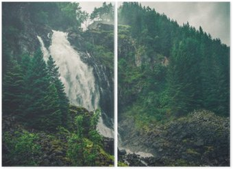 Diptychon Scenic Norwegischer Wasserfall