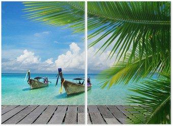 Diptychon Steg mit Blick auf das tropische Meer