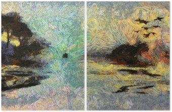 Diptychon Vivid Wirbelnde Malerei von Inseln Sonnenuntergang oder Sonnenaufgang