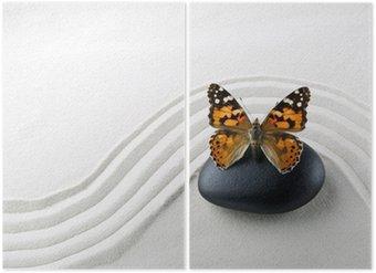 Diptychon Zen Stein mit Schmetterling