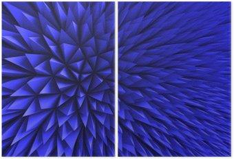 Diptych Abstrakt Poligon Chaotic modrém pozadí