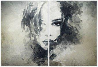 Diptych Abstraktní žena, portrét