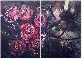 Diptych Akvarel styl růže Abstraktní umění.