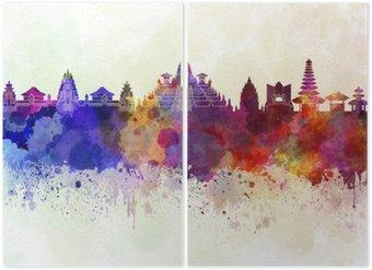 Diptych Bali panorama v akvarelu pozadí