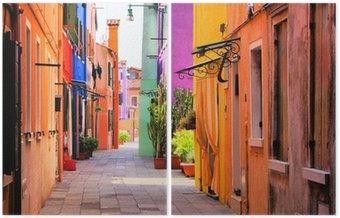 Diptych Barevné ulice Burano, nedaleko Benátek, Itálie