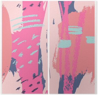 Diptych Hand Drawn Abstract Design