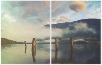 Diptych Horské jezero v italských Alpách, retro barvy, ročník