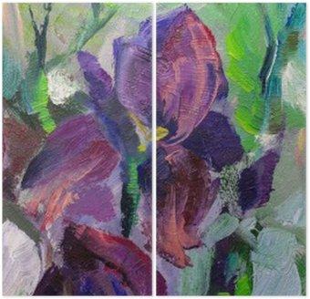 Diptych Malba zátiší olejomalba textura, kosatce impresionismu