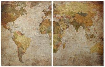 Diptych Map world