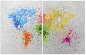 Diptych Mapa světa malba