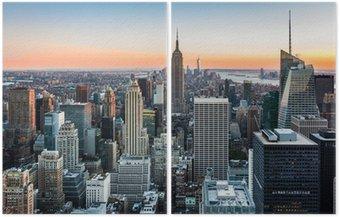 Diptych New York Skyline při západu slunce
