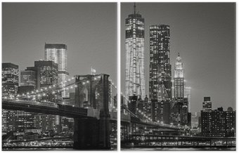Diptych New York v noci. Brooklynský most, Dolní Manhattan - Black