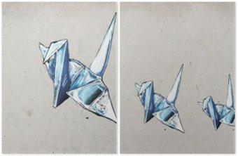 Diptych Origami jeřáby