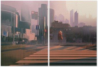Diptych Osamělá žena stojící na křižovatce městské pěší, ilustrace malba