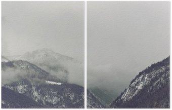 Diptych Temné mraky tyčící se nad horou