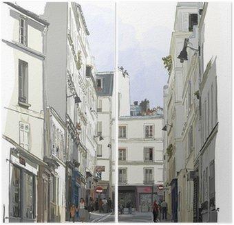 Diptych Ulice poblíž Montmartru v Paříži