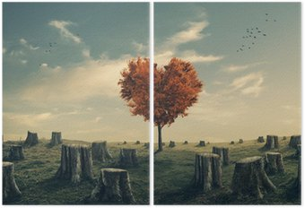 Diptych Ve tvaru srdce strom v lese zúčtování