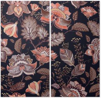 Diptych Vintage bezešvé vzor. Květiny pozadí v Provence stylu.