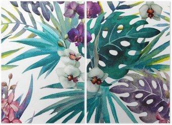Diptych Vzor Orchid Hibiscus listy akvarel tropy