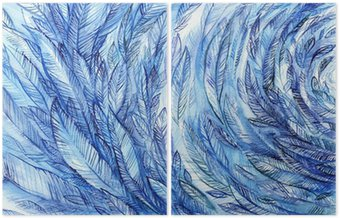 Diptyk blue feathers in a circle, watercolor abstract background