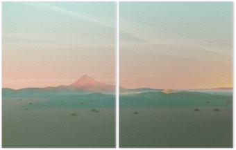 Diptyk Geometriska fjällmiljö med Gradient Sky