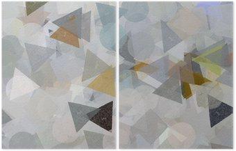 Diptyk Geometriska former illustration. Pensel målarfärg.