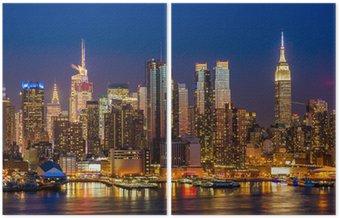Diptyk New York City Manhattan Midtown byggnader skyline natt