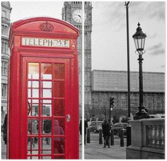 Diptyk Röd telefonkiosk i London med Big Ben i svart och vitt