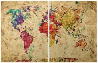 Diptyk Vintage världskartan. Colorful färg, akvarell på grungepapper