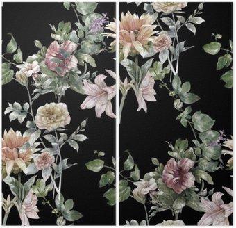 Akvarel maleri af blade og blomster, sømløs mønster på mørk baggrund, Diptykon