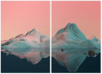 Low-Poly 3D bjerglandskab med vand og refleksion Diptykon