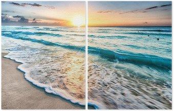 Solopgang over stranden i Cancun Diptykon
