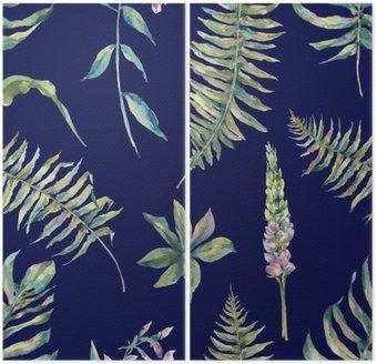 Tropisk akvarel blade sømløse mønster Diptykon