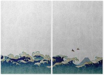 Diptyque 和風 背景 素材 大 波 と 渡 り 鳥