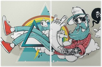 Diptyque Abstract graffiti hippie