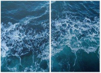 Diptyque Bleu texture de la mer avec des vagues et de la mousse