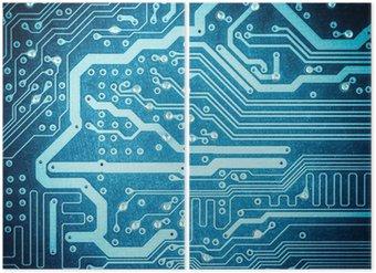 Diptyque Carte de circuit bleu texture gros plan