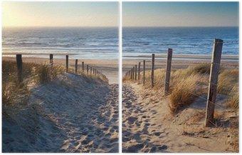 Diptyque Chemin de plage de la mer du Nord dans le soleil d'or