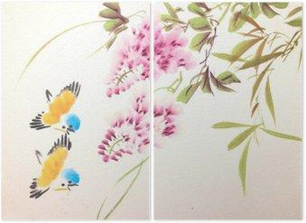 Diptyque Chinois oiseau peinture à l'encre et des plantes