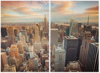 Diptyque Coucher de soleil sur New York donnant sur le centre de Manhattan