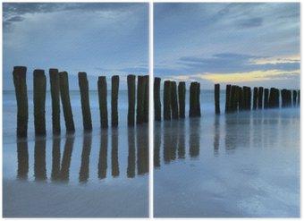 Diptyque Crépuscule sur la plage de Calais